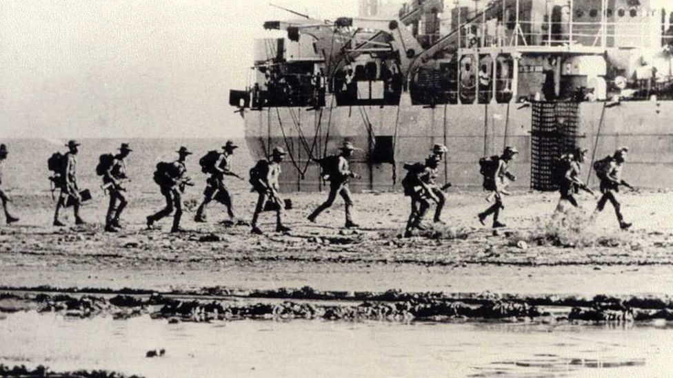 Indonesian soldiers invading East Timor