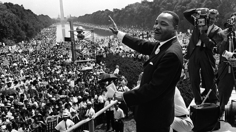 Martin Luther King giving a speech in Washington, DC
