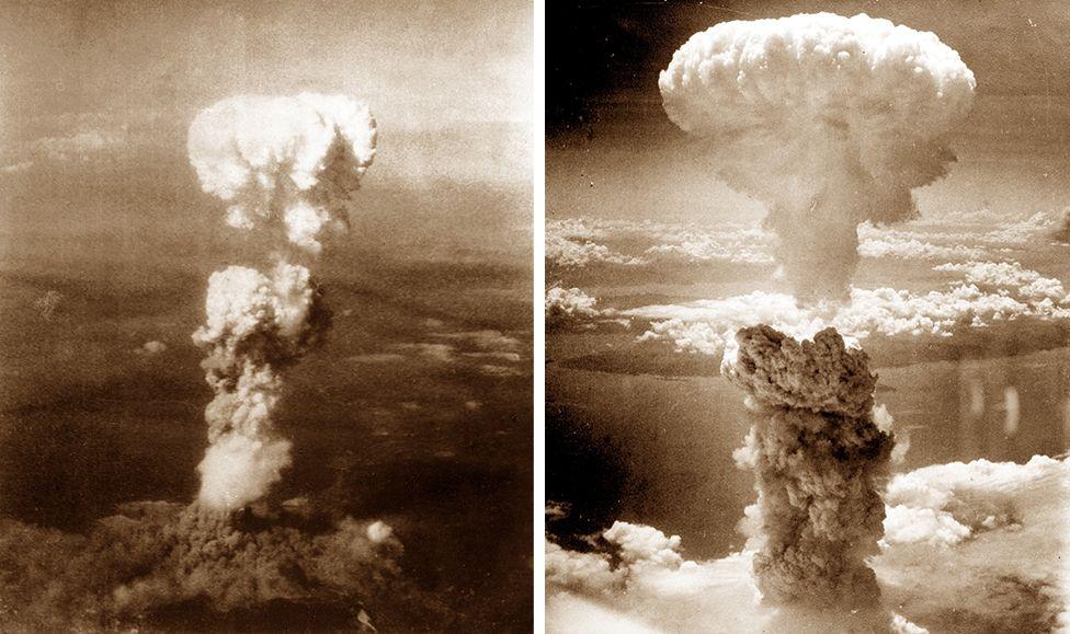 原子彈爆炸後升起的蘑菇雲,左圖為廣島,右圖為長崎。
