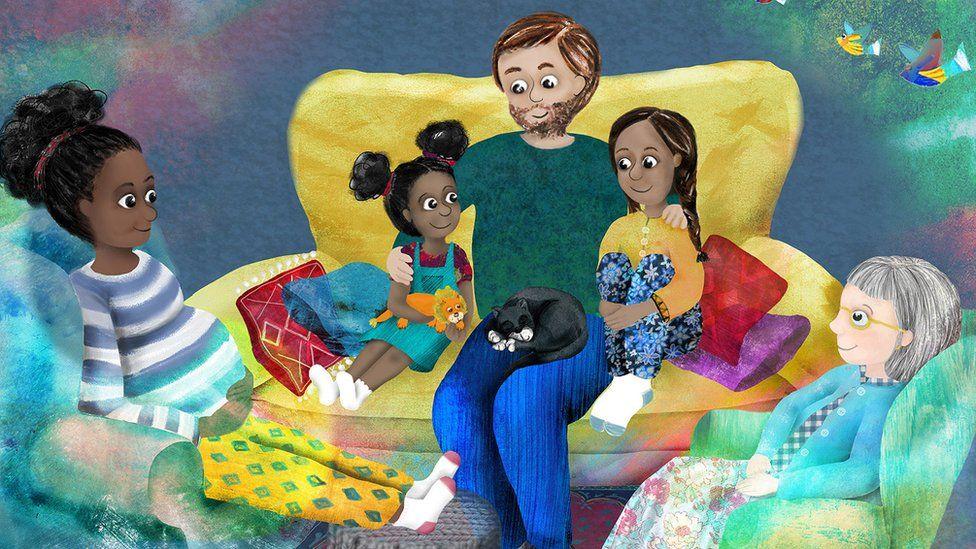 Family in book