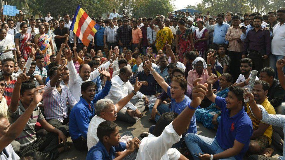 Eight dead in massive India caste protests - BBC News