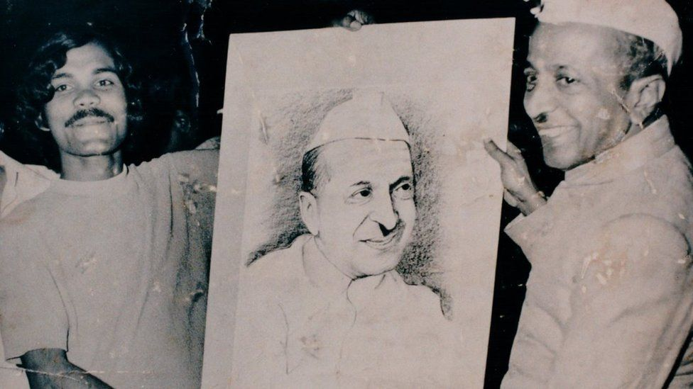 He also made portraits of politicians, including this one of acting Indian President BD Jatti