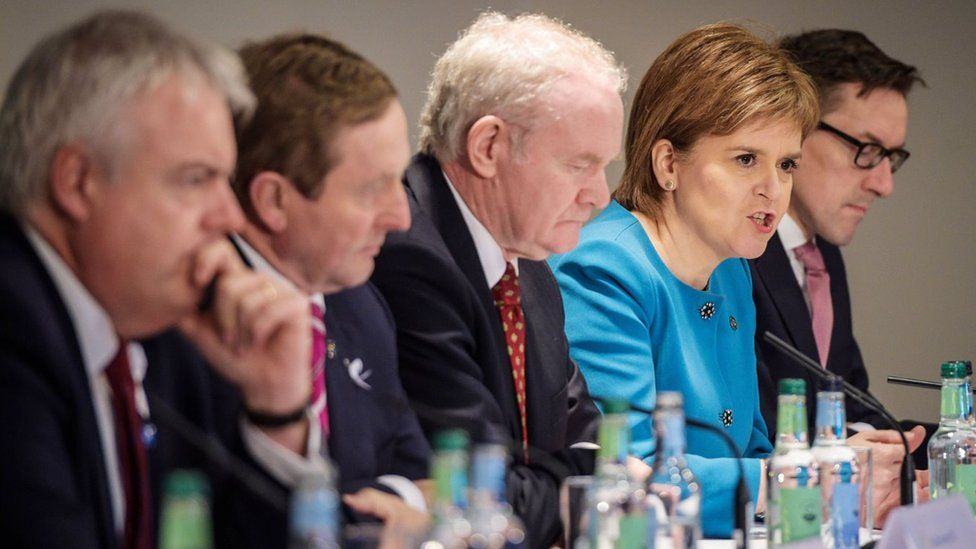 First Minister of Wales Carwyn Jones, Taoiseach Enda Kenny TD, Deputy First Minister of Northern Ireland Martin McGuinness, First Minister of Scotland Nicola Sturgeon and the Chief Minister of Jersey Senator Ian Gorst at the British Irish Council summit