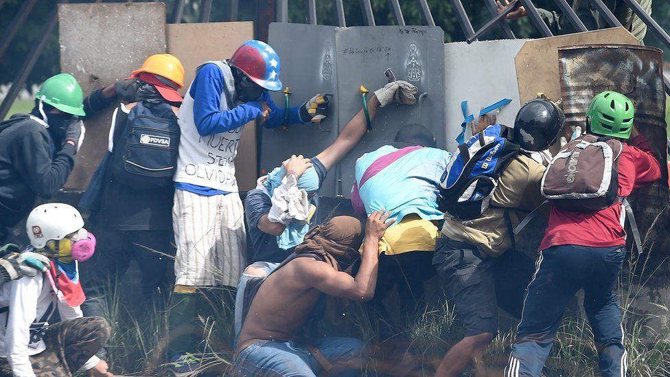 Protestors in Caracas on Wednesday