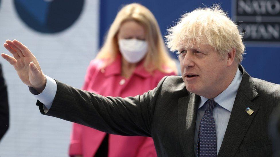 UK Prime Minister Boris Johnson arrives to attend a Nato summit
