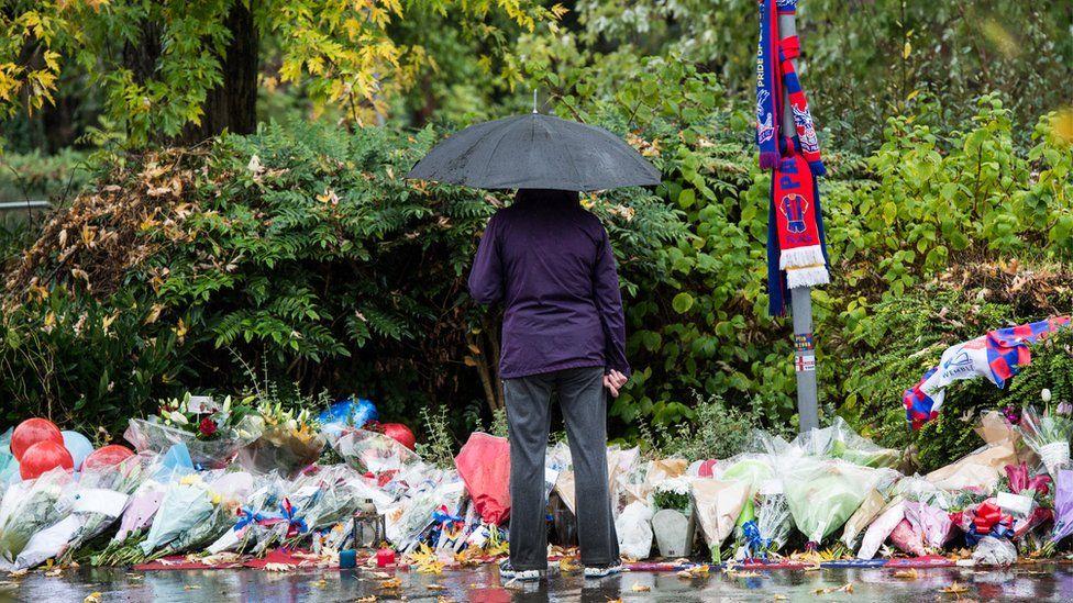 Floral tributes for tram crash victims