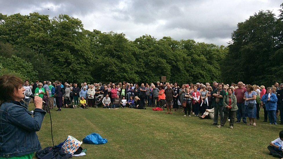 Protest meeting in Calderstones Park