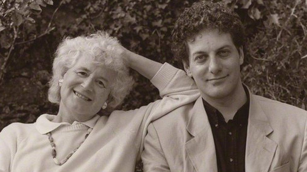 Jan Morris with her son, poet and musician Twm Morus