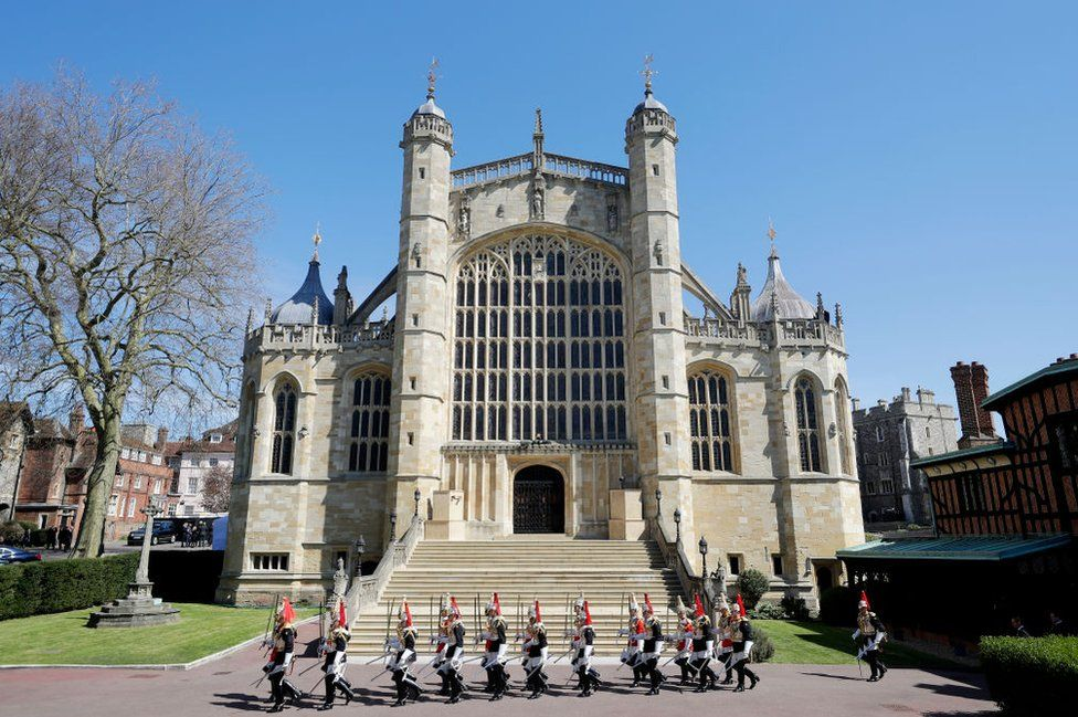 Members of the Household Cavalry are seen ahead of the funeral of Prince Philip, Duke of Edinburgh at Windsor Castle on April 17, 2021 in Windsor, England.