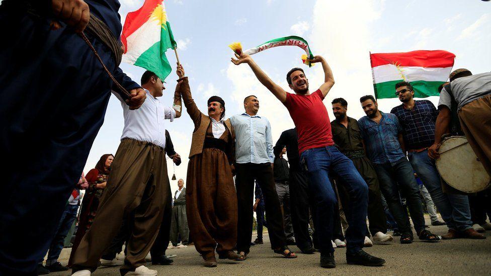 Kurds celebrate during their independence referendum in Kirkuk (25 September 2017)