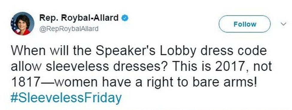 """Congresswoman Lucille Roybal-Allard's tweet: """"When will the Speaker's Lobby dress code allow sleeveless dresses? This is 2017, not 1817—women have a right to bare arms! #SleevelessFriday"""""""