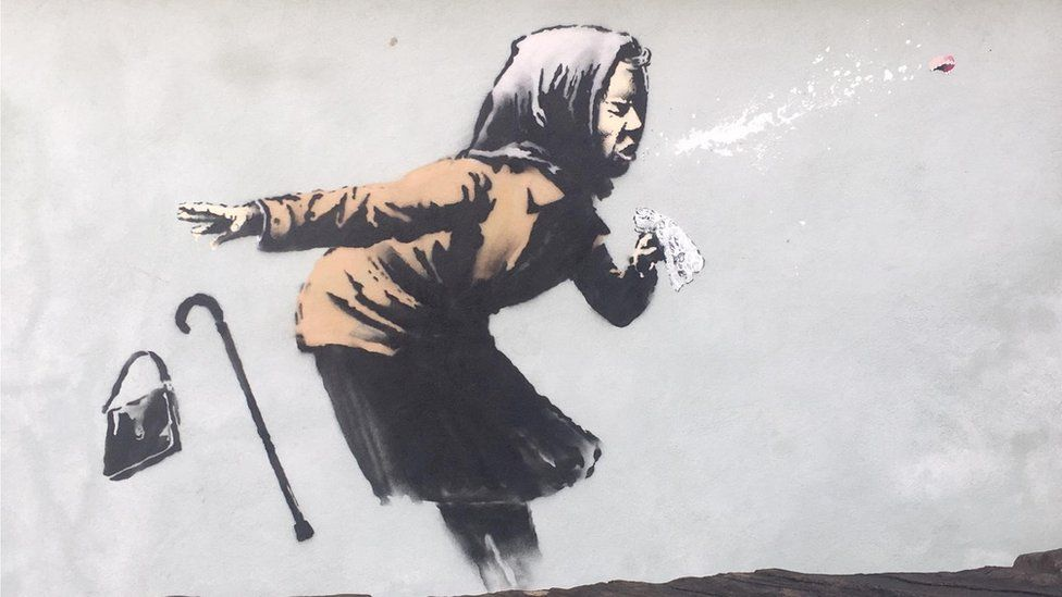 Bristol Banksy: Sneezing woman artwork to be auctioned - BBC News