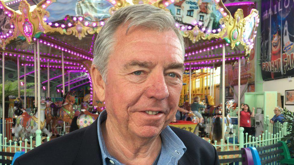 Philip Miller in Adventure Island amusement park.