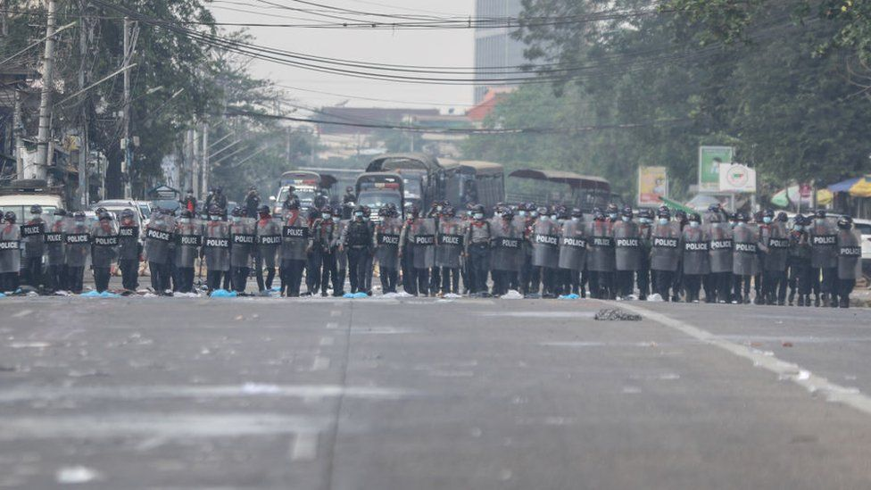 Riot police in Yangon