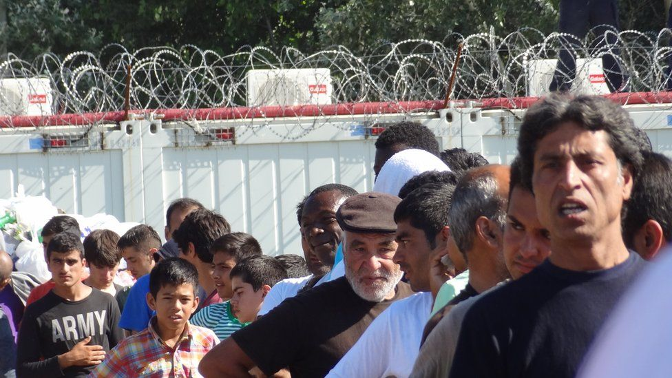 Horgos refugee camp on the Serbian border with Hungary