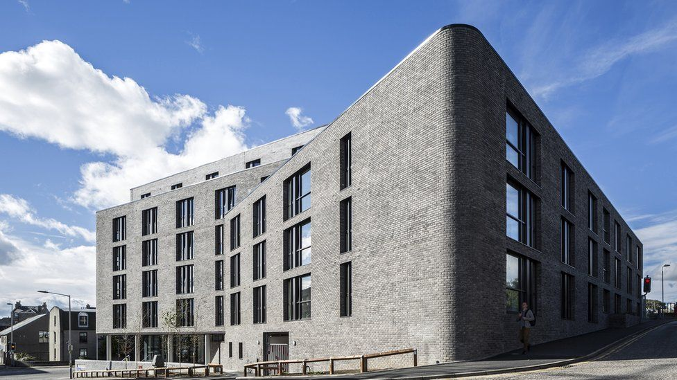 """Powis Place, Aberdeen - """"This student accommodation features a sheltered forecourt, a glazed common room and reception areas"""""""