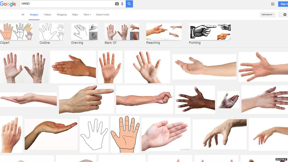 A print screen image showing the Google image result for hand with the updated results showing two of Johanna's pictures