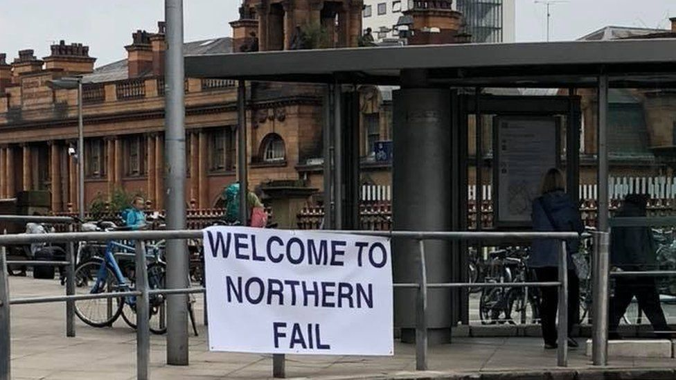 """A sign saying """"Welcome to Northern Fail"""" at Manchester Piccadilly"""
