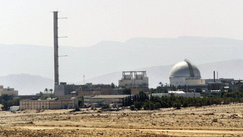 A picture dated on September 8, 2002 shows a partial view of the Dimona nuclear power plant in the southern Israeli Negev desert