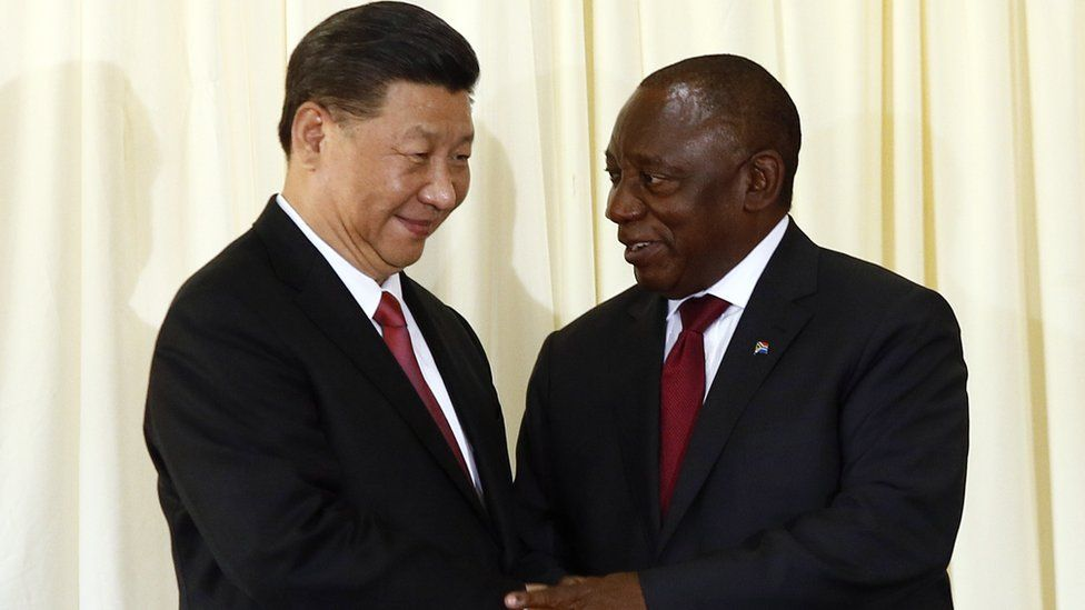 Chinese President Xi Jinping and South African President Cyril Ramaphosa