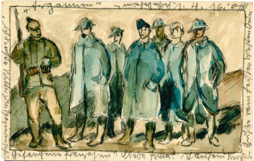Painted postcard of captured French soldiers