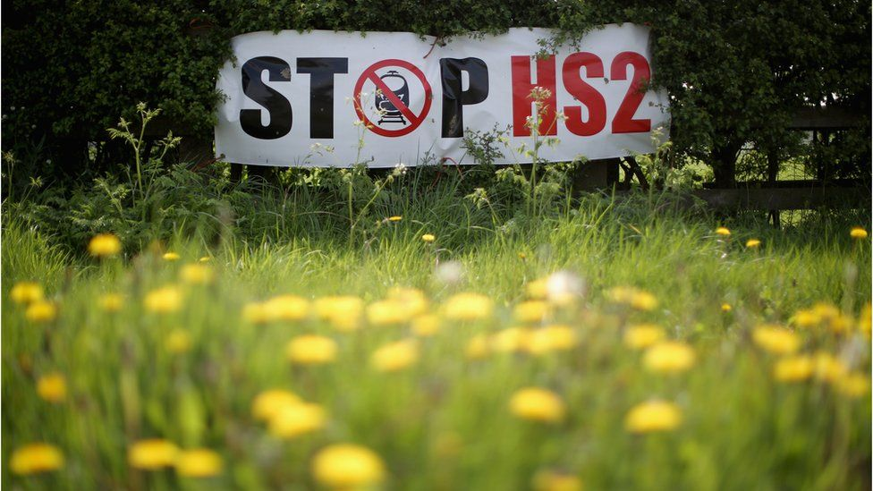 A stop HS2 sign on the edge of a field