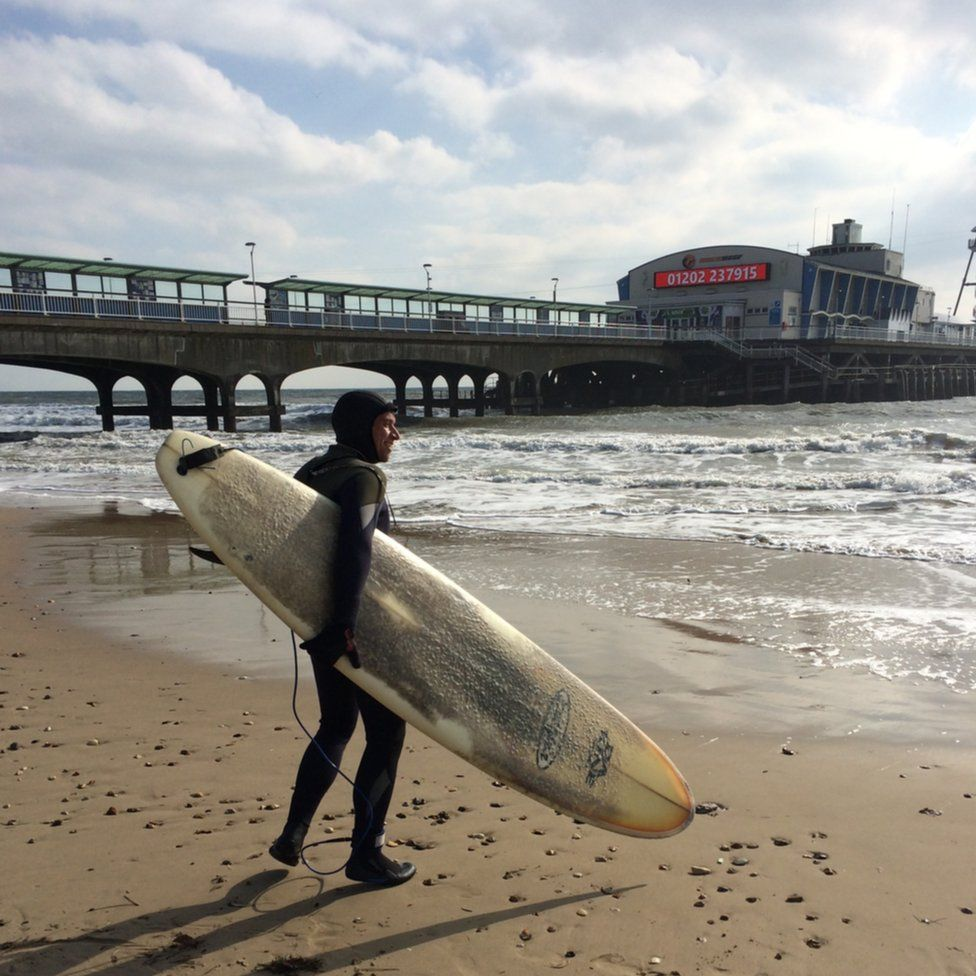 Fred Johns surfing at Bournemouth Beach