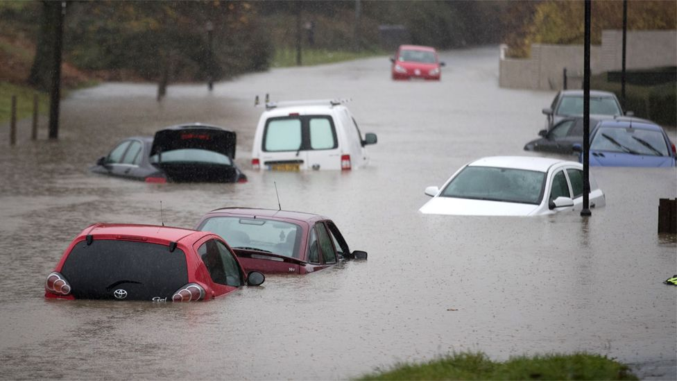 File image of cars submerged under several feet of flood water in Bristol in November 2016