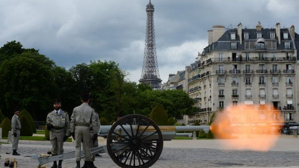 "French army fire cannons at the Esplanade of the Invalides Hotel in Paris following Emmanuel Macron""s formal inauguration ceremony as French President on 14 May 2017 in Paris."