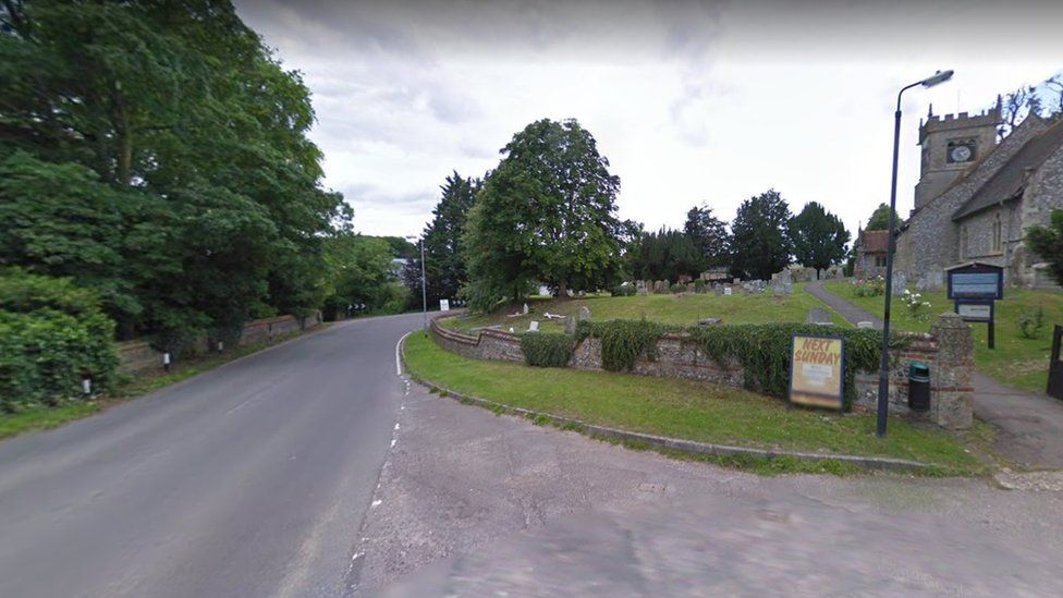 Church road in Collingbourne Ducis, Wiltshire