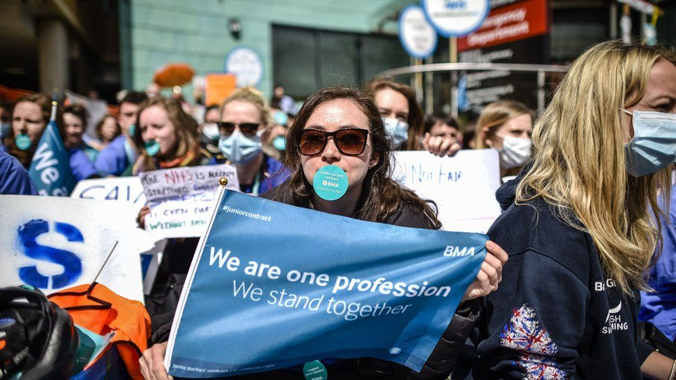 Junior doctors protesting during this year's dispute