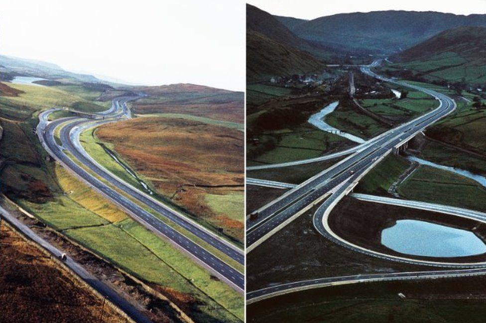 Aerial views of M6 in Cumbria