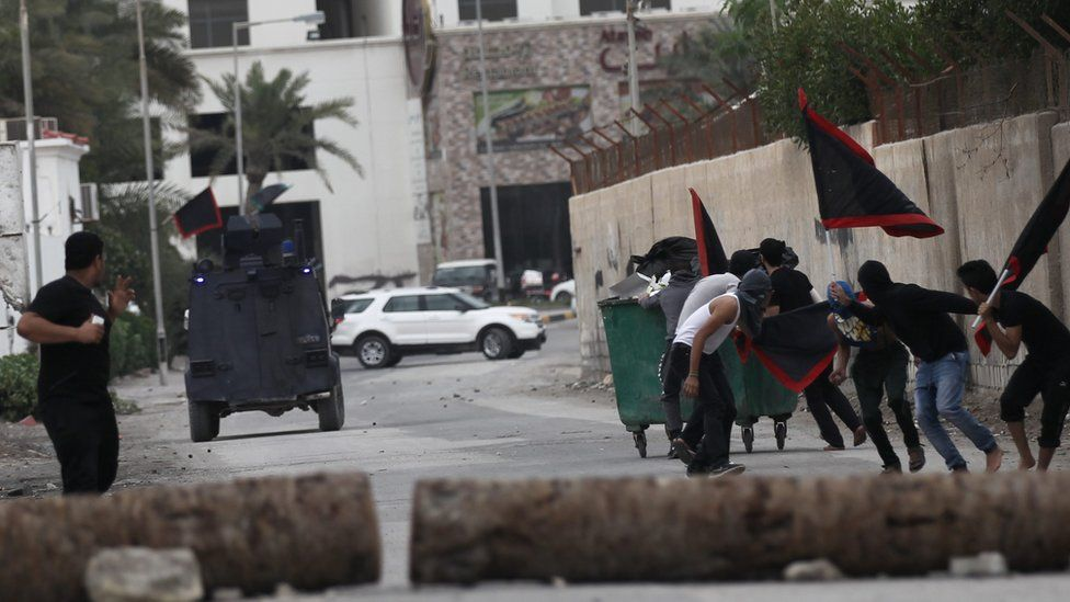 People protest in Bahrain against the execution of a prominent Shia cleric