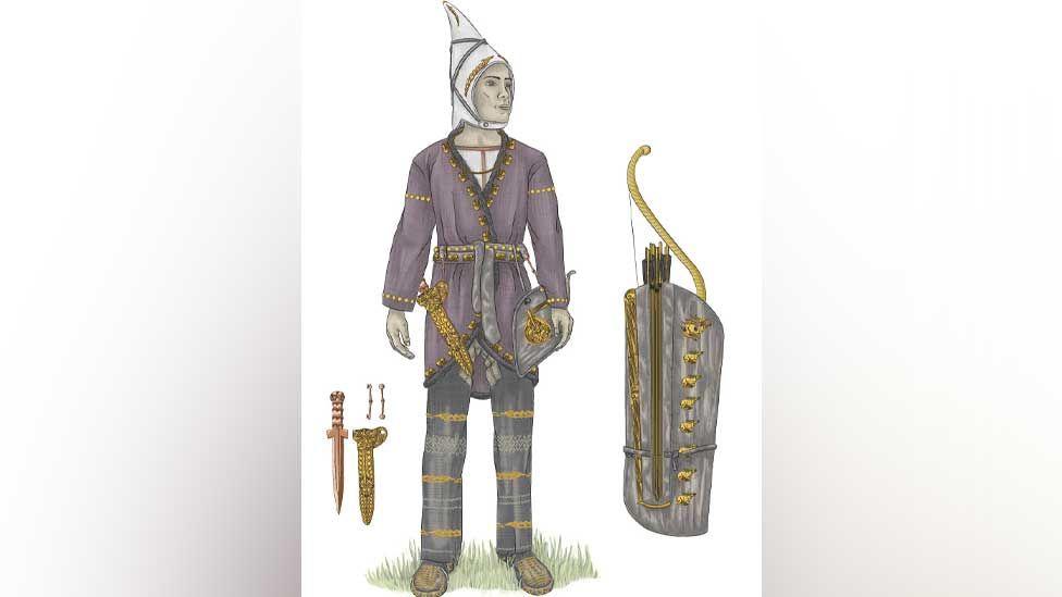Artist's impression of Saka archer found at Eleke Sazy