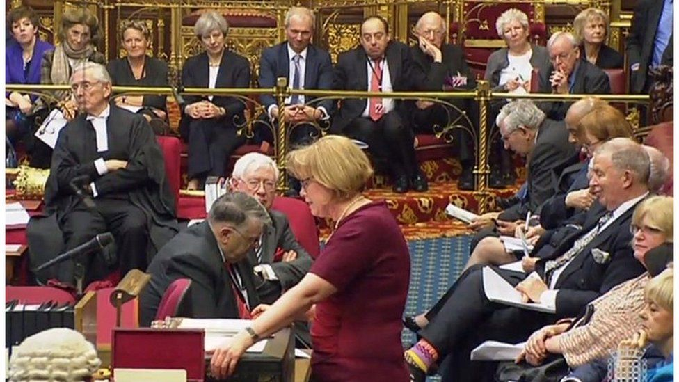 Theresa May watching a Brexit debate in the House of Lords in 2017