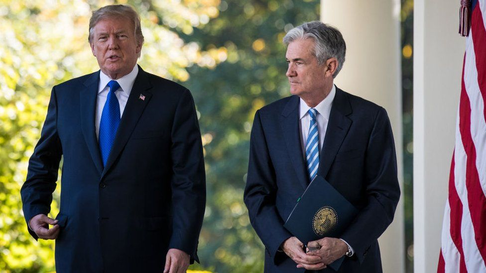 Jerome Powell and President Trump