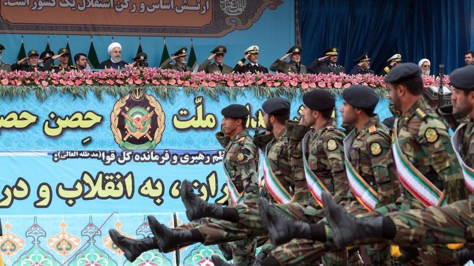 Iranian President Hassan Rouhani attends military parade on National Army Day in Tehran, Iran (18 April 2019)