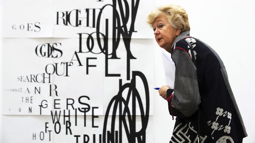 A visitor looks at 'DOUG' by artist Janice Kerbel ahead of the 2015 Turner Prize
