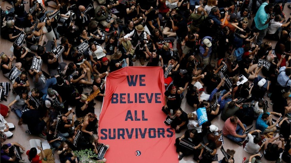 After the FBI report's release, activists have gathered in the Senate office building to protest Judge Kavanaugh's nomination