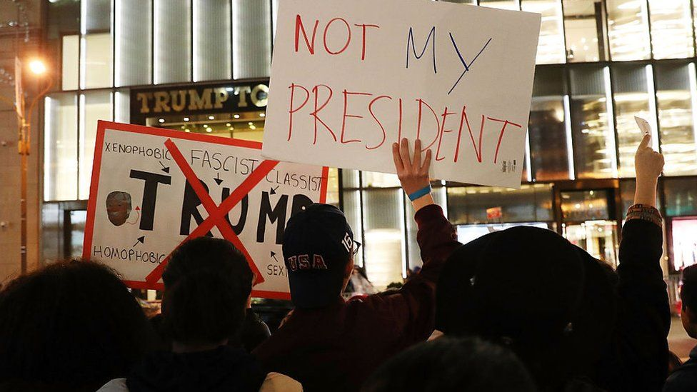 protests continue outside of Trump properties