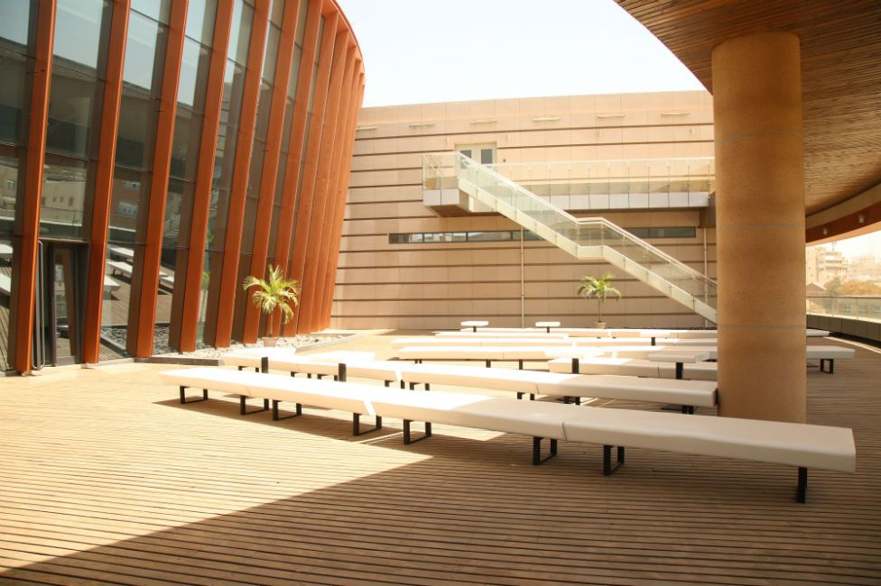 A view of the museum's terrace outside