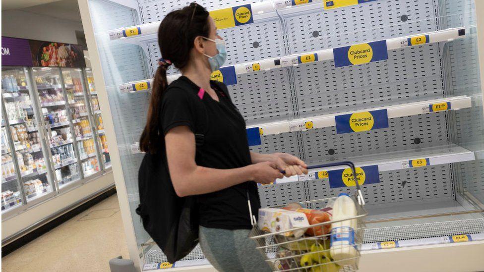 Some supermarket shelves