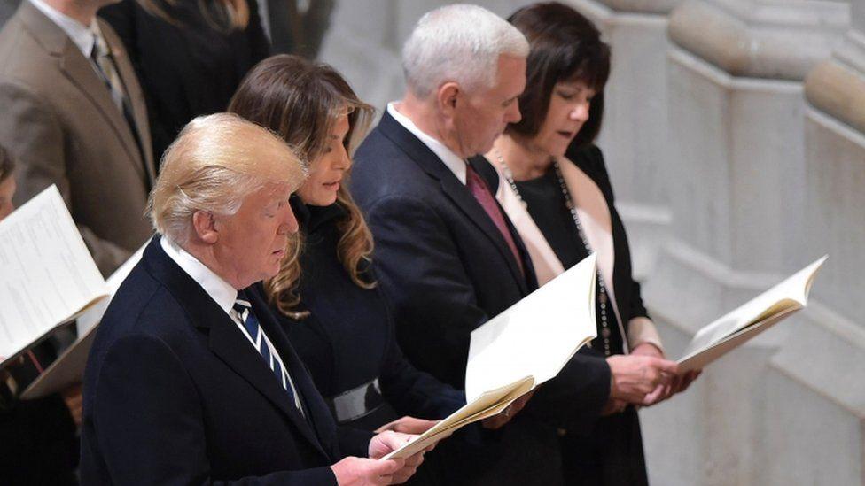 Donald Trump attends a multi-faith service in Washington, 21 Jan