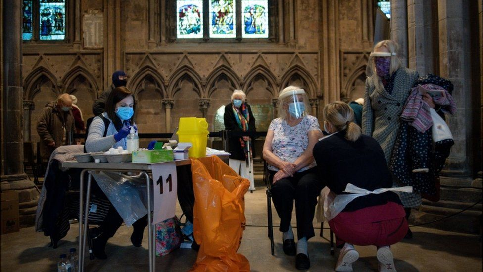 Audrey Elson, 84, receives an injection of the Oxford/AstraZeneca coronavirus vaccine at Lichfield Cathedral