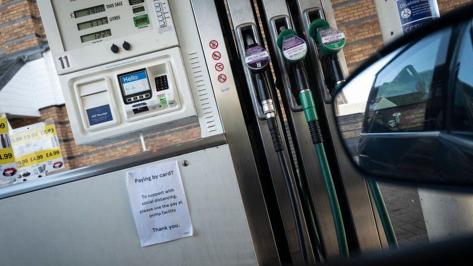 Petrol pumps at a Tesco petrol station