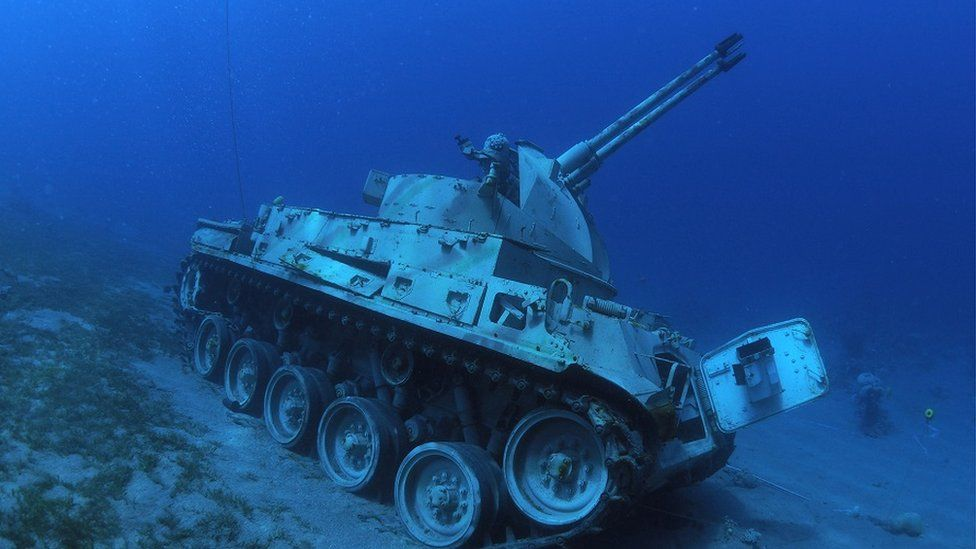 Jordanian Armed Forces armoured vehicle lies on the seabed of the Red Sea off the coast of the southern port city of Aqaba