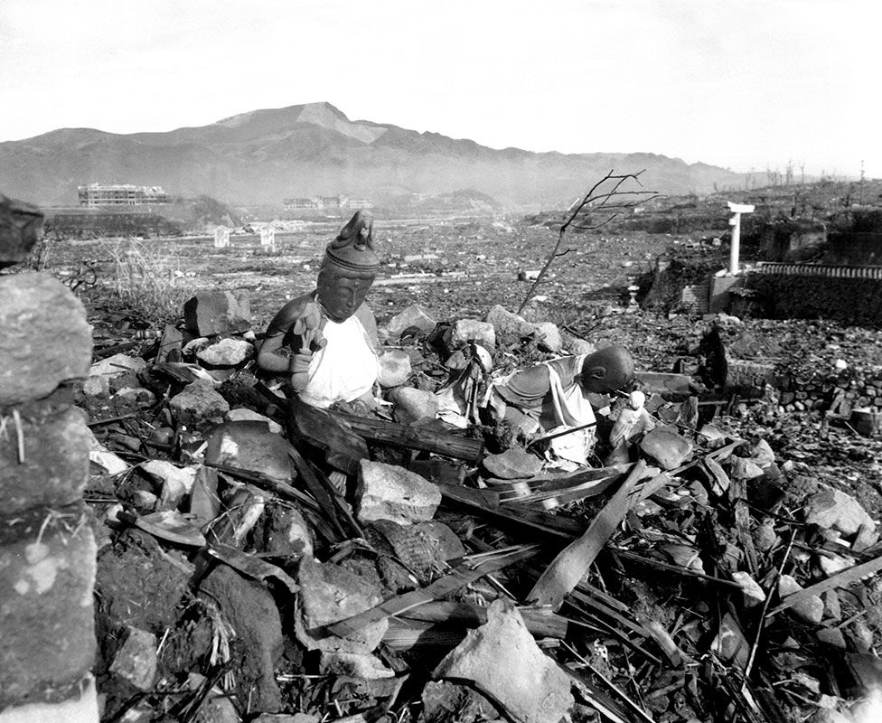 Ett landskap av kollapsade byggnader
