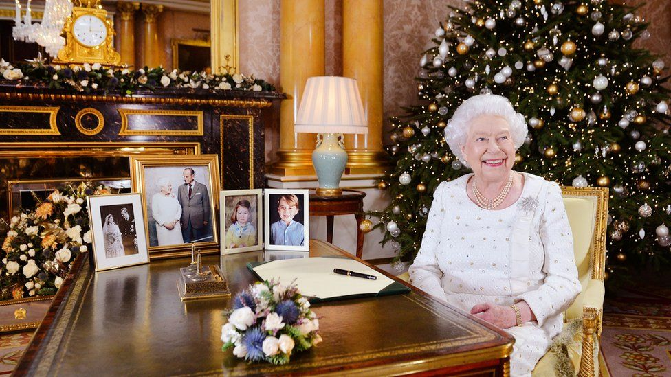 The Queen at Buckingham Palace after recording her Christmas Day broadcast