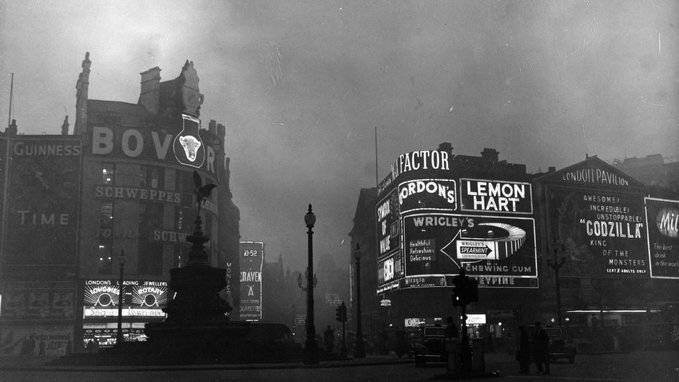 A fog shrouded Piccadilly Circus in London in 1956