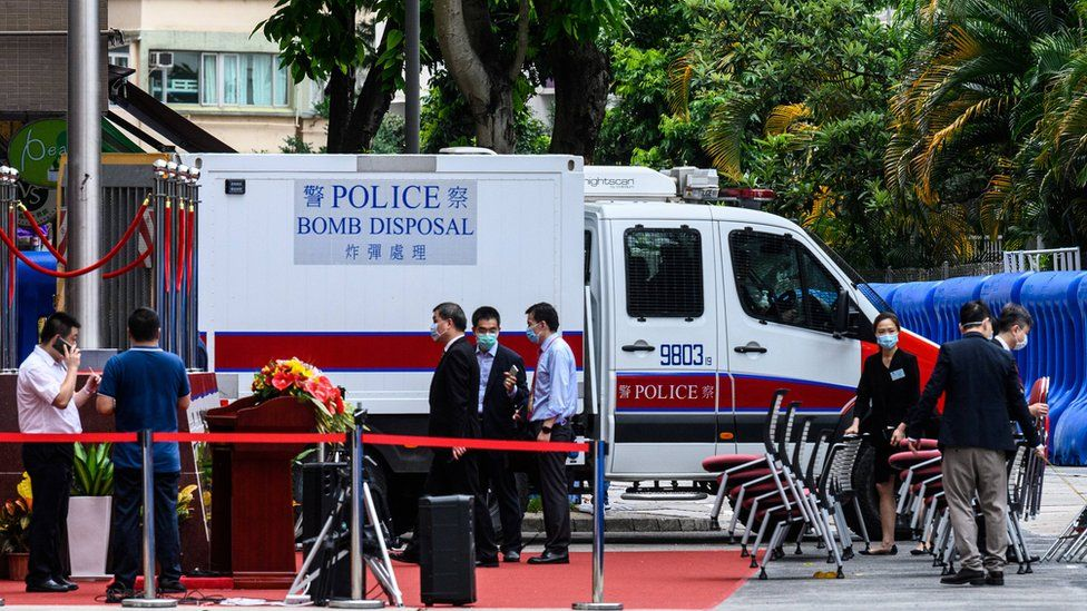 A bomb disposal van at the opening ceremony in Hong Kong